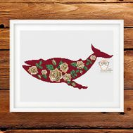 Red floral Whale cross stitch pattern
