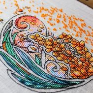Flower Cross stitch pattern Sea Buckthorn pdf pattern}