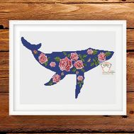 Flower Roses Whale cross stitch pattern