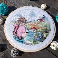 French Riviera Travel Round cross stitch pattern