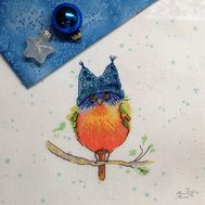 Funny cross stitch pattern ''Little Bird'' stitched result