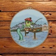 Cthulhu & Nessie round cross stitch pattern