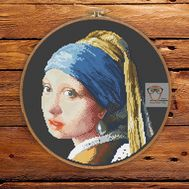 Girl with Pearl Earring by Vermeer cross stitch pattern