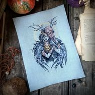 Gothic cross stitch pattern Forest Witch by Iren Horrors}