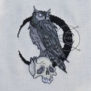 Gothic cross stitch pattern Owl with skull}