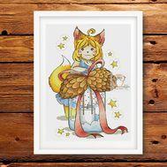 Fox Girl Halloween cross stitch chart