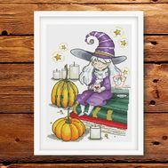 Halloween cross stitch pattern Waiting for Samhain