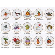 Halloween cross stitch pattern Funny set of 15 designs}