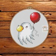 Halloween cross stitch pattern Ghost with balloon}