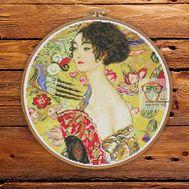 Lady With Fan by Klimt cross stitch pattern