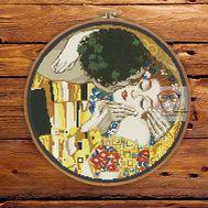 The Kiss by Klimt round cross stitch pattern