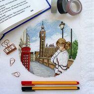 London Round cross stitch pattern  stitched