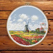Field Of Tulips Monet cross stitch pattern