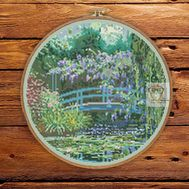 Japanese Bridge Monet cross stitch pattern