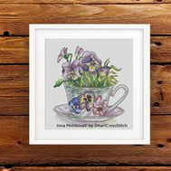 Pansies Flowers Cross Stitch Pattern