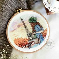 Paris Round cross stitch pattern hoop