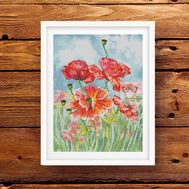 Poppies Field  Floral cross stitch pattern}