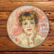 Portrait of Jeanne Samary by Renoir cross stitch pattern