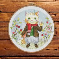 Round cross stitch chart Funny Cat