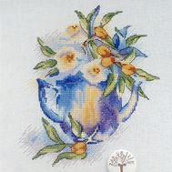 Flowers in the teapot cross stitch pattern