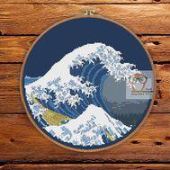 Great Wave Hokusai cross stitch pattern blue canvas