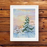 Winter Cross stitch pattern Forest Fir}
