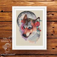 Wolf The Moon Keeper Cross stitch pattern