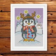Xmas Card Penguin Cross stitch pattern}