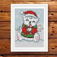 Xmas Card Teddy Bear Cross stitch pattern}