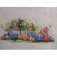 Garden With deckchair cross stitch pattern
