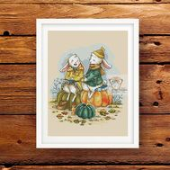 Autumn Bunnies Fantasy cross stitch pattern