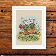 Autumn Mice Fantasy cross stitch pattern
