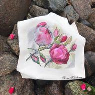 Bird & Roses Floral cross stitch pattern