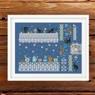 Cats Cafe Sampler cross stitch pattern