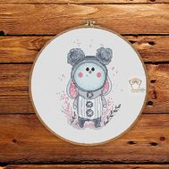 Little Cute Bunny Cross stitch round pattern
