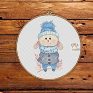 Little Blue Bunny Round Cross stitch pattern