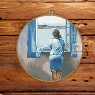 Young Woman at a Window by Salvador Dali cross stitch pattern