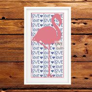 Wedding Flamingo Love free cross stitch pattern