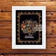 Flower Vase cross stitch pattern - black canvas