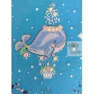 Flower Whale Embroidery Pattern