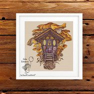 Witch Mushrooms House cross stitch pattern