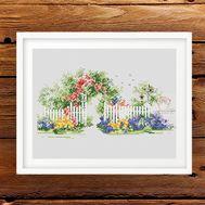 Garden Gate cross stitch pattern