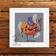 Funny Halloween Pumpkin cross stitch pattern - I'll take your soul