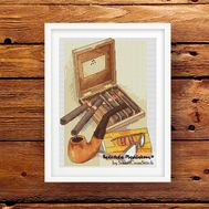 Men's kit pipe and cigars cross stitch pattern