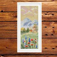 Mountain House  Landscape Cross Stitch Pattern