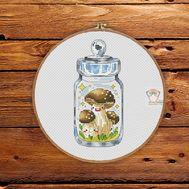 Mushrooms in the jar #1 cross stitch pattern