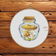 Mushrooms in the jar #7 cross stitch pattern