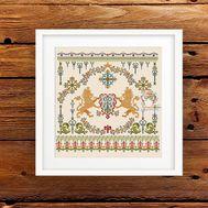 Lion Needlepoint   Vintage Sampler cross stitch pattern