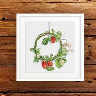 Strawberry Wreath cross stitch pattern