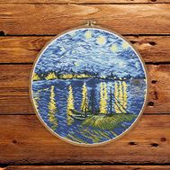 Van Gogh cross stitch pattern Starry Night Over the Rhone